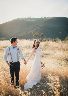 Bohemian bride at sunset.