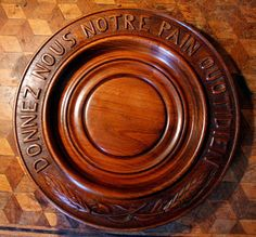 VINTAGE French Wooden Hand Carved Bread Board Tray Donnez-Nous Pain Quotidien