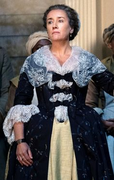 """mariadoylekennedy: """"Maria Doyle Kennedy as Aunt Jocasta Cameron in Outlander """"""""There's a likeness between the two women, but for Claire it's very hard to get past the fact that Jocasta is a plantation owner with slaves,"""" Balfe tells EW. Claire Fraser, Jamie Fraser, Outlander Costumes, Outlander Clothing, Outlander Season 4, Starz Outlander, Outlander Book Series, Outlander Characters, Blue Costumes"""