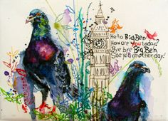 Bird pigeon art. A sweet original painting with hand embroidery, ideal for a contemporary nursery