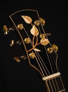 Some artists don't have to sign their work. Those leaves are the signature of Master Luthier Joel Stehr. Guitar Inlay, Guitar Art, Guitar Solo, Custom Guitars, Custom Electric Guitars, Unique Guitars, Archtop Guitar, Acoustic Guitars, Guitar Garage
