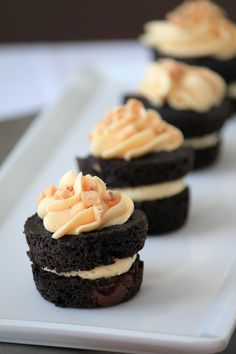 Toffee Brownie Bites with Salted Caramel Buttercream