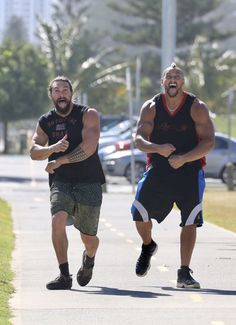Jason Momoa Shows Off His Muscles With an Equally Large Friend
