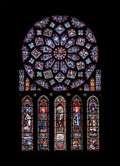 The French medieval Cathedral of Our Lady of Chartres (French: Cathédrale Notre-Dame de Chartres); North transept rose window, photo was taken by Eusebius (Guillaume Piolle). Medieval Stained Glass, Stained Glass Church, Stained Glass Art, Stained Glass Windows, Wine Bottle Wall, Wine Glass, Rose Window, Les Religions, Gothic Architecture