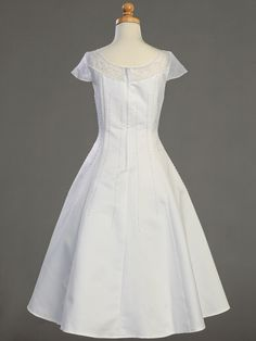 White Satin A-line Communion Dress w/ Beadwork