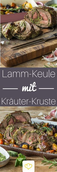 Lammkeule mit Kräuterkruste und Gremolata Delicately braised lamb with fresh herbs on a colorful bed of vegetables – the culmination of your Easter banquet. Steak Recipes, Grilling Recipes, New Recipes, Lamb Recipes, Fresco, Gremolata, Spareribs, Colorful Vegetables, Dried Beans