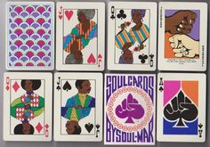 """Best I can tell, this deck was made in 1973 and is no longer in production. A user on eBay is selling off some sealed decks they found in their uncle's collection, which they describe as, """"made by African American Co in Whittier, California. Obviously these were in the Heyday of 'Black Power' / Black is Beautiful and SOUL, SOUL, SOUL.""""I haven't been able to track down any more info, but holy cow are these cool! Check out the eBay link! Unrelated: they make a great gift."""