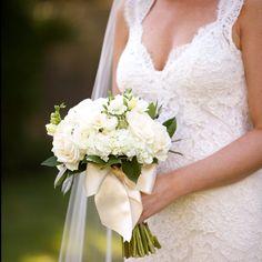 Cream Rose Bouquet // photo: Artisan Events / Amanda Sudimack //  Bridal Bouquet: Simply Flowers // http://www.theknot.com/weddings/album/a-rustic-black-tie-wedding-in-lake-bluff-il-133764