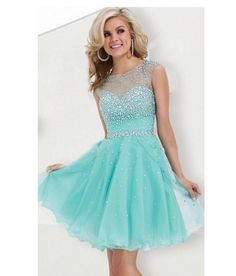 Short Homecoming Dress Turquoise A line Beaded Sparkly 2016 Sweet 16 Semi Formal Short Prom Cocktail Dress Gown