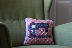 C2C Crochet Sewing Machine Pillow - free pattern, chart and video by Ashleigh at Sewrella.