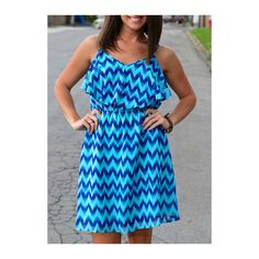 Rotita Chevron Print Blue Ruffle Embellished Mini Dress ($22) ❤ liked on Polyvore