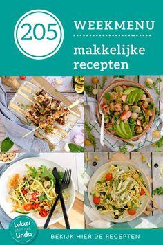 Het weekmenu vol makkelijke recepten staat weer klaar. Wat eten we deze week? Griekse kipspiesjes, Thaise kip, een Aziatische salade met zalm en avocado en een overheerlijke spaghetti met kabeljauw. Het weekmenu staat op Lekker eten met Linda op je te wachten. Avocado, Spaghetti, Ethnic Recipes, Food, Lawyer, Essen, Meals, Yemek, Noodle