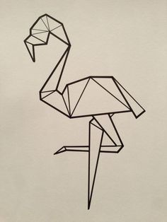 Flamant rose origami