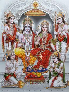 Shri Rama Sita with Hanuman, Bharat Shatrughna and Lakshmana Ganesha Art, Krishna Art, Lord Krishna, Shree Ram Images, Ram Ram Ji Images, Shri Ram Wallpaper, Hd Wallpaper, Shri Ram Photo, Lord Sri Rama