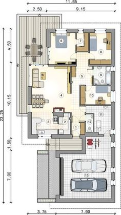 Parterowy dom na działkę z wjazdem od południa - Studio Atrium House Layout Plans, Dream House Plans, Modern House Plans, Small House Plans, House Layouts, House Floor Plans, Minimalist House Design, Modern House Design, House Construction Plan