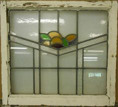 """MID SIZED OLD ENGLISH LEADED STAINED GLASS WINDOW Fruit Design 26.25"""" x 23.75"""" in Antiques, Architectural & Garden, Stained Glass Windows   eBay"""