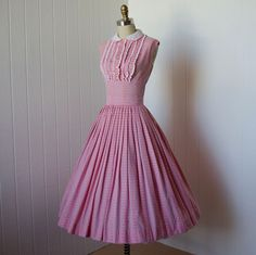 vintage 1950s dress  ...sweetest MINX MODES embroidered cotton pink gingham full skirt shelf-bust effect tux ruffled pin-up dress