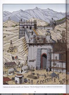Building the Great Wall  From Les Voyages d'Alix, Alix en Chine, by Jacques Martin, illus. Erwin Drèze