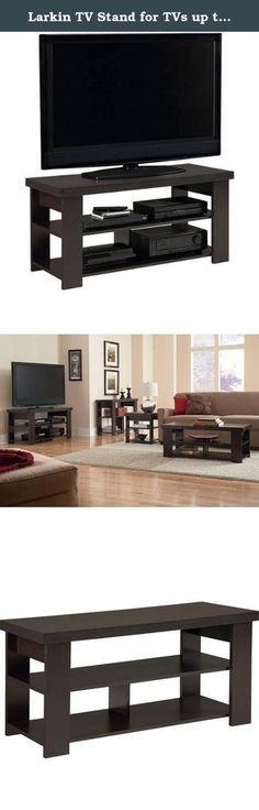 """Larkin TV Stand for TVs up tp 47"""", Espresso Black Forrest Finish With Open Bottom Space. Looking for a Transitional TV stand with simple, open shelving to display your home theater gear? This attractive TV stand from Ameriwood offers the perfect solution with its clean lines and handsome Black Forest (Espresso) or Black Ebony Ash finish. Designed to hold flat-panel TVs up 47"""", the console supports up to 100 pounds of weight on the top shelf, while offering plenty of room for your system..."""