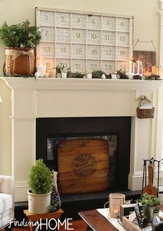 Advent Calendar and Christmas Mantel at Finding Home