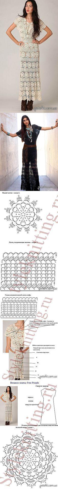 Elegant cârlig rochie lunga.  Descriere și scheme ale tricotat