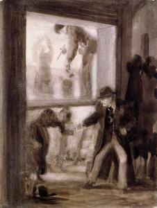 Painters Preparing a Transparent Panel - Adolph von Menzel - The Athenaeum - 1871 -- brown ink and gouche