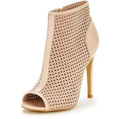 Ax Paris Addison Shoe Boot (590 ARS) ❤ liked on Polyvore featuring shoes, boots, ankle booties, peep toe booties, summer boots, summer booties, perforated booties and high heel ankle booties