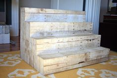 we could build with pallets DIY Display Risers: foam core covered in faux-wood paper - for the farm stand or store by whitney Stall Display, Vendor Displays, Craft Booth Displays, Vendor Booth, Market Displays, Display Ideas, Craft Booths, Display Stands, Wood Display