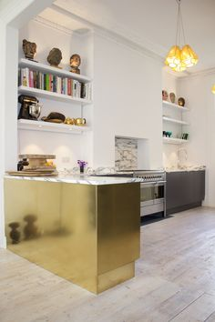 Kitchen arabescato marble brass storm formica