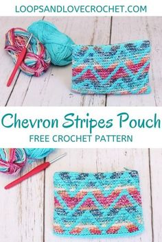 Chevron Stripes Pouch - Free Crochet Pattern Loops & Love Crochet