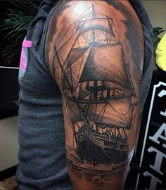 Amazing Naval Ship Tattoos For Men On Arm