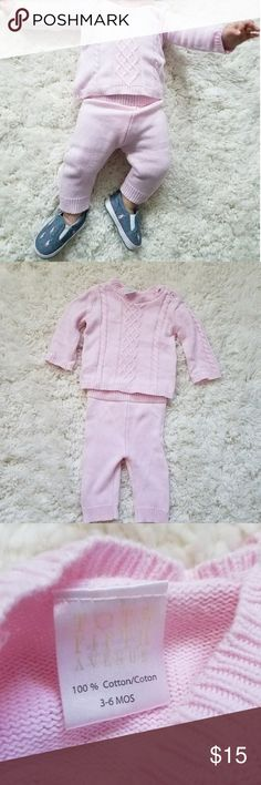 Pink cotton knit matching set 100% cotton knit matching set. Buttons to expand neck Not super thick so won't be uncomfortable on baby  Matched it with Ralph Lauren shoes which are also in my closet Matching Sets