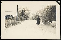 Unknown, American. [Winter Scene of Woman on Snow-Covered Road, Possibly Sandy Creek, New York], 1920s–30s. The Metropolitan Museum of Art, New York. Funds from various donors, 1996 (1996.574.3) #snow