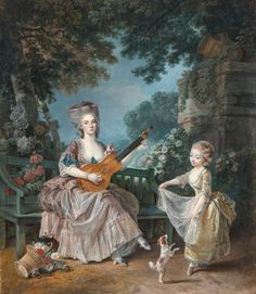 The Athenaeum - A Lady Playing Guitar and a Child Playing with a Dog in a Garden (Louis de Trinquesse - )