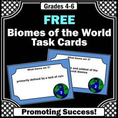 FREE Biomes of the World Task Cards Teacher Freebies, Teacher Resources, Homeschool Curriculum, Montessori Homeschool, Science Centers, 5th Grade Science, Formative Assessment, Special Education Classroom, Biomes