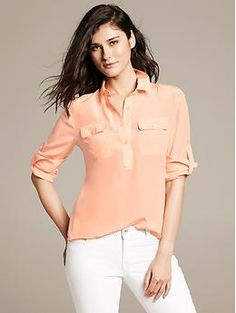 Peach Silk Utility Blouse | Banana Republic