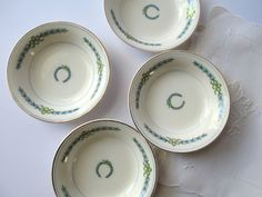 Vintage Crooksville Aqua and Green Berry Bowls Set by thechinagirl