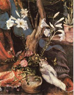 MATTHIAS GRUNEWALD (c.I470/5-1528): Vase rif Lilies and Roses (detail from the…