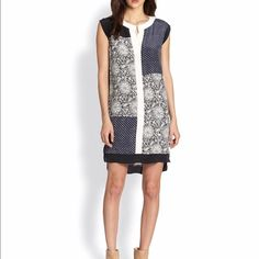 Rebecca Taylor Embroidered Print Shift Dress Lightweight Silk Shift Dress with slit v-neck. Gently worn and in great condition! Rebecca Taylor Dresses