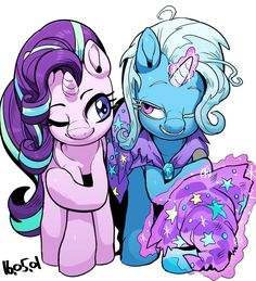 #1143905 - artist:nekubi, eye contact, lesbian, magic, no second prances, raised hoof, safe, shipping, simple background, smiling, spoiler:s06e06, starlight glimmer, telekinesis, trixie, triximmer, white background, wink - Derpibooru - My Little Pony: Friendship is Magic Imageboard