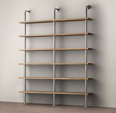 narrow wall shelving | Wall shelving system with industrial style