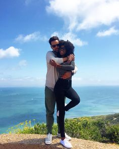Gorgeous interracial couple at the Cabrillo National Monument in San Diego, California
