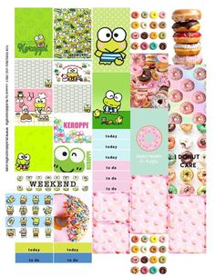 Keroppi (Sanrio) and Donuts Free printable planner stickers for MAMBI happy planner or Erin Condren vertical life planner