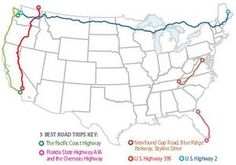 5 Best Road Trips: Pacific Coast Highway, Florida State Highway A1A and OVerseas Highway, Newfound Gap Road/Blue Ridge Parkway/ Skyline Drive, US Highway 2, US Highway 395