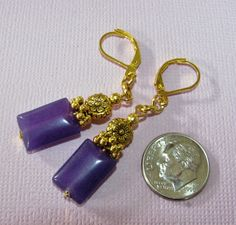Purple JADE Pillow DAISY FLOWER Gold or Silver Plated LEVER BACK Earrings #BusyBeeBumbleBeads #DropDangle