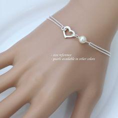 Sterling Silver Heart and Swarovski Pearl by alexandreasjewels