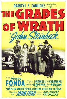Original-release American movie poster for The Grapes of Wrath (1940), starring Henry Fonda and directed by John Ford.