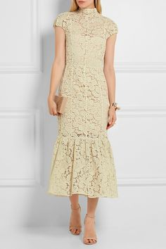Victoria Beckham | Fluted cotton-blend lace midi dress | NET-A-PORTER.COM