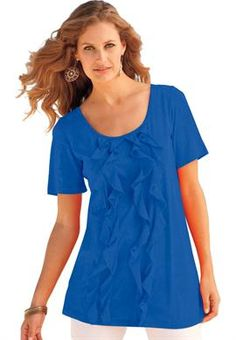 Make way for our romantic plus size tunic design with four rows of cascading ruffles down the front bodice!