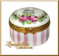 Baby's First Tooth Roses & Pink Stripes Limoges Box (Beauchamp)